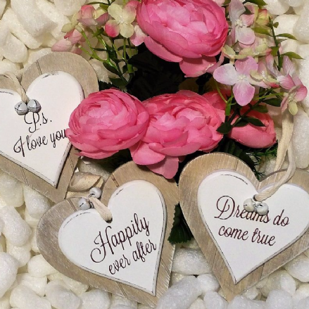 50% OFF Set Of 3 Wooden Hanging Double Hearts
